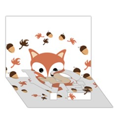 Fox In Autumn Love Bottom 3d Greeting Card (7x5) by vanessagf