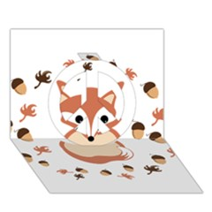 Fox In Autumn Peace Sign 3d Greeting Card (7x5) by vanessagf