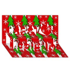 Christmas Tree Pattern   Red Best Friends 3d Greeting Card (8x4) by Valentinaart