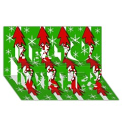 Christmas pattern - green Best Wish 3D Greeting Card (8x4)