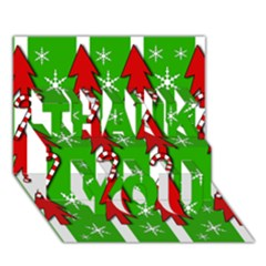 Christmas Pattern   Green Thank You 3d Greeting Card (7x5) by Valentinaart
