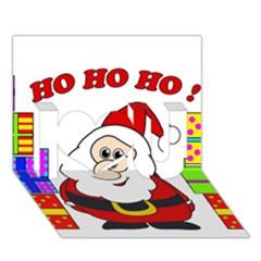 Santa Claus Pattern   Transparent I Love You 3d Greeting Card (7x5)