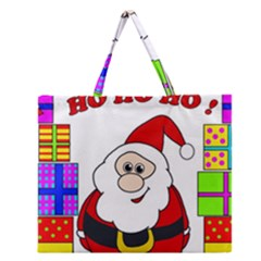 Santa Claus Pattern   Transparent Zipper Large Tote Bag by Valentinaart