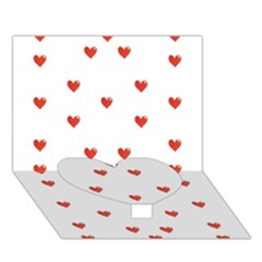 Cute Hearts Motif Pattern Heart Bottom 3d Greeting Card (7x5) by dflcprints