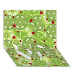 Green Christmas Decor Love Bottom 3d Greeting Card (7x5) by Valentinaart
