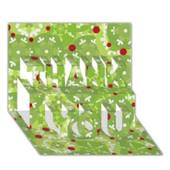 Green Christmas Decor Thank You 3d Greeting Card (7x5) by Valentinaart