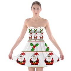 Christmas Pattern Strapless Bra Top Dress