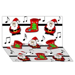 Christmas Song Twin Heart Bottom 3d Greeting Card (8x4) by Valentinaart