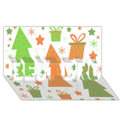 Christmas Design   Green And Orange Best Bro 3d Greeting Card (8x4)