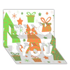 Christmas Design   Green And Orange Miss You 3d Greeting Card (7x5)