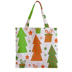 Christmas Design   Green And Orange Zipper Grocery Tote Bag by Valentinaart