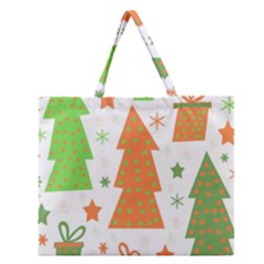 Christmas Design   Green And Orange Zipper Large Tote Bag by Valentinaart