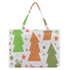 Christmas Design   Green And Orange Medium Zipper Tote Bag by Valentinaart