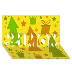 Christmas Design   Yellow #1 Mom 3d Greeting Cards (8x4) by Valentinaart