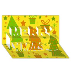 Christmas design - yellow Merry Xmas 3D Greeting Card (8x4) by Valentinaart