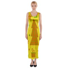 Christmas Design   Yellow Fitted Maxi Dress by Valentinaart