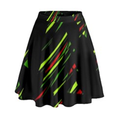 Abstract Christmas Tree High Waist Skirt by Valentinaart
