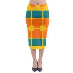 Squares And Rectangles                                                                                                  Midi Pencil Skirt by LalyLauraFLM
