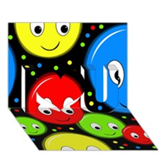 Smiley Faces Pattern I Love You 3d Greeting Card (7x5) by Valentinaart
