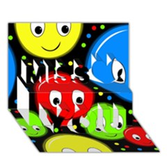 Smiley Faces Pattern Miss You 3d Greeting Card (7x5) by Valentinaart