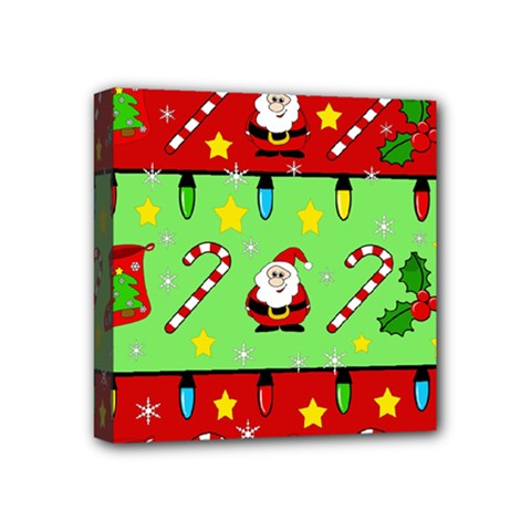 Christmas Pattern   Green And Red Mini Canvas 4  X 4  by Valentinaart