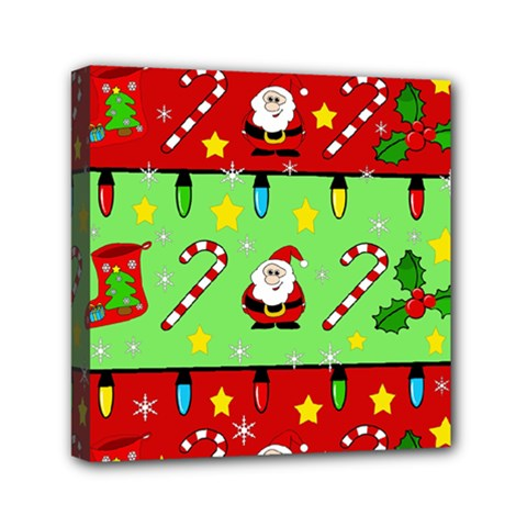 Christmas Pattern   Green And Red Mini Canvas 6  X 6  by Valentinaart