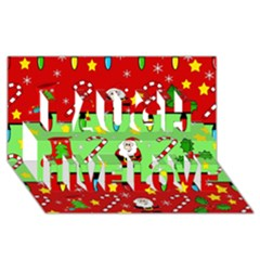 Christmas Pattern   Green And Red Laugh Live Love 3d Greeting Card (8x4)