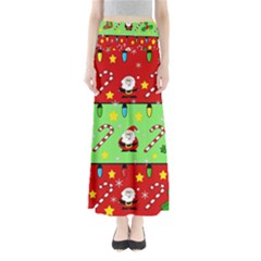 Christmas pattern - green and red Maxi Skirts by Valentinaart