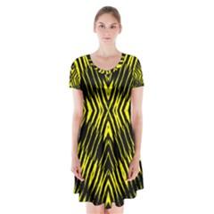 Yyyyyyyyy Short Sleeve V Neck Flare Dress by MRTACPANS