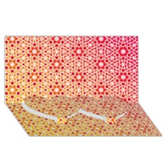 Orange Ombre Mosaic Pattern Twin Heart Bottom 3d Greeting Card (8x4)