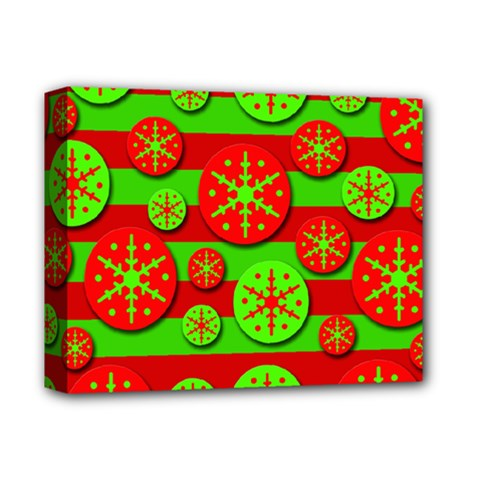 Snowflake Red And Green Pattern Deluxe Canvas 14  X 11  by Valentinaart