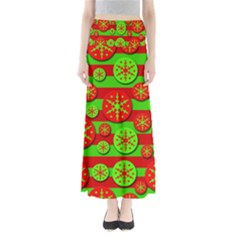 Snowflake Red And Green Pattern Maxi Skirts