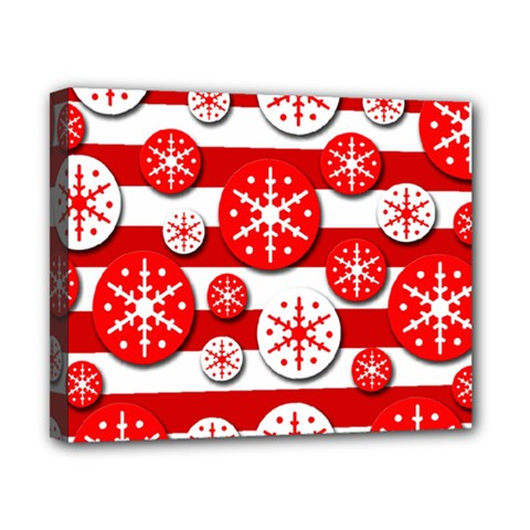 Snowflake Red And White Pattern Canvas 10  X 8  by Valentinaart