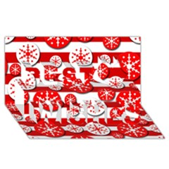 Snowflake Red And White Pattern Best Wish 3d Greeting Card (8x4) by Valentinaart