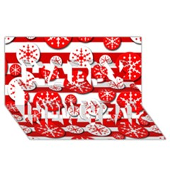 Snowflake Red And White Pattern Happy New Year 3d Greeting Card (8x4) by Valentinaart