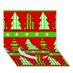 Christmas Trees Pattern Circle Bottom 3d Greeting Card (7x5) by Valentinaart