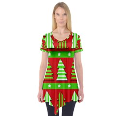 Christmas trees pattern Short Sleeve Tunic  by Valentinaart