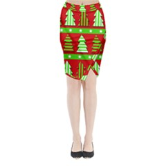 Christmas Trees Pattern Midi Wrap Pencil Skirt by Valentinaart