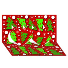 Twisted Christmas Trees Twin Hearts 3d Greeting Card (8x4)