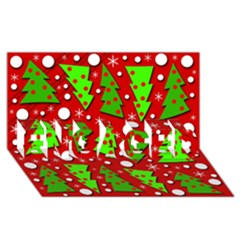 Twisted Christmas Trees Engaged 3d Greeting Card (8x4) by Valentinaart