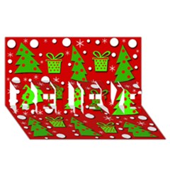 Christmas Trees And Gifts Pattern Believe 3d Greeting Card (8x4)