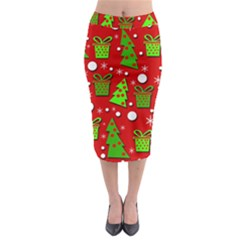 Christmas Trees And Gifts Pattern Midi Pencil Skirt by Valentinaart