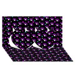 Purple Dots Pattern Twin Hearts 3d Greeting Card (8x4) by Valentinaart