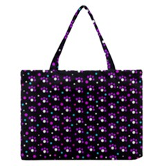 Purple Dots Pattern Medium Zipper Tote Bag