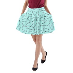 Spoonie Strong Print In Light Turquiose A Line Pocket Skirt by AwareWithFlair