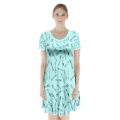 Spoonie Strong Print In Light Turquiose Short Sleeve V Neck Flare Dress by AwareWithFlair