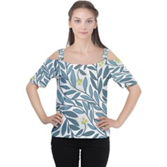 Blue Floral Design Women s Cutout Shoulder Tee by Valentinaart