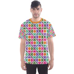 Modernist Floral Tiles Men s Sport Mesh Tee by DanaeStudio