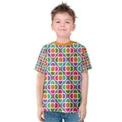 Modernist Floral Tiles Kid s Cotton Tee by DanaeStudio