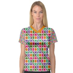 Modernist Floral Tiles Women s V Neck Sport Mesh Tee by DanaeStudio